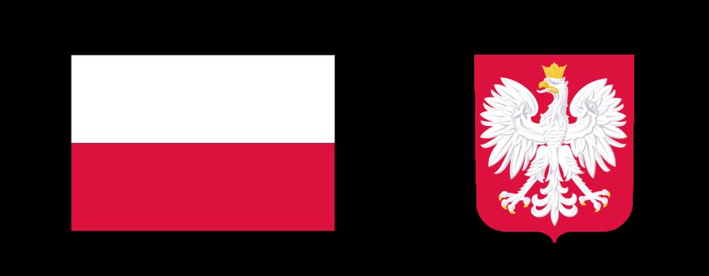 po lewej stronie flaga Polski po prawej godło Polski