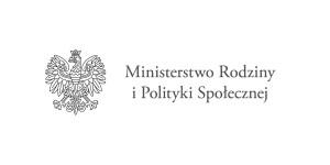logo ministerstw MINISTERSTWO RODZINY I POLITYKI SPOŁECZNEJ godło monohromatyczne po lewej stronie po prawej w dwóch liniach nazwa ministerstwa