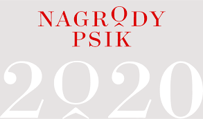 u góry mniejszy czerwony napis nagrody psik pod większe biały cyfry 2020