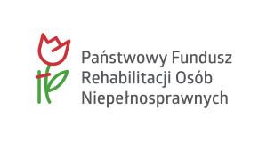logo PFRON  tekst rozwijający skrót po prawej stronie po lewej schematyczny kwiat czerwony z zieloną łodygą